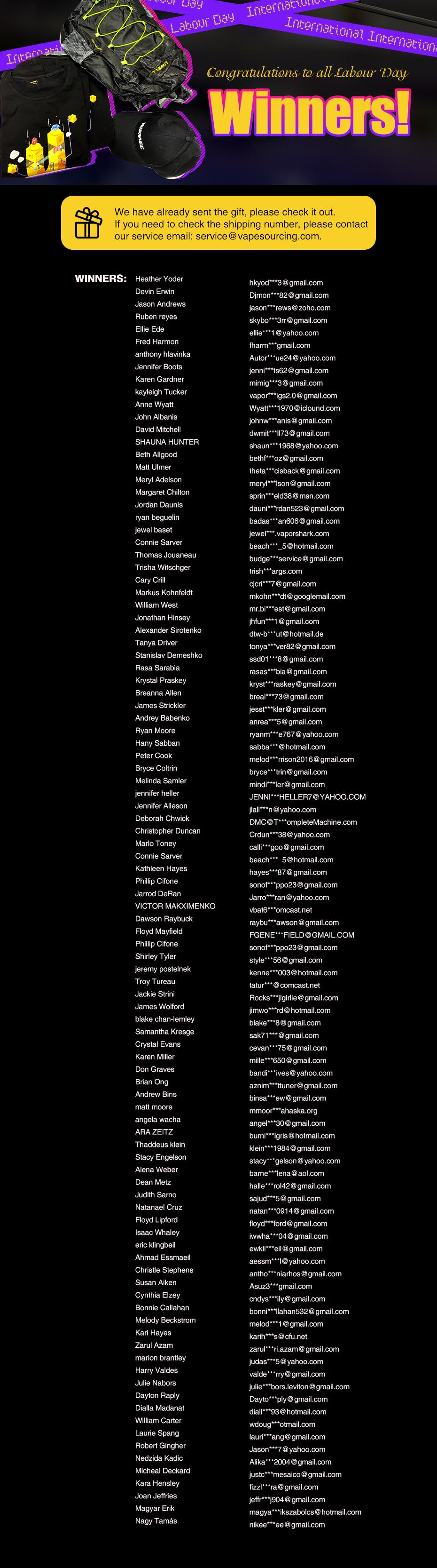 Labour Day winners list