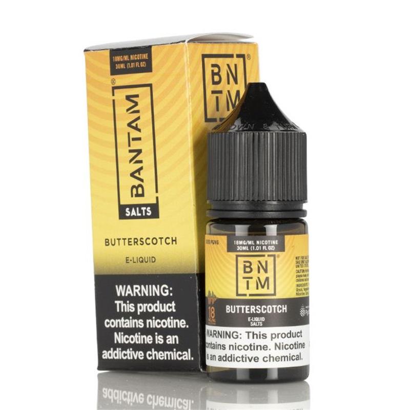 butterscotch salts - bantam vape - 30ml - box and bottles
