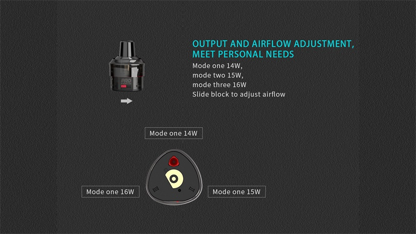 Uwell WHIRL T1 Pod Mod Kit' airfow adjustable