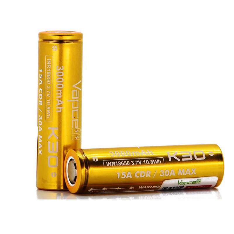 Vapcell K30 18650 15A/30A Flat Top 3000mAh Battery1